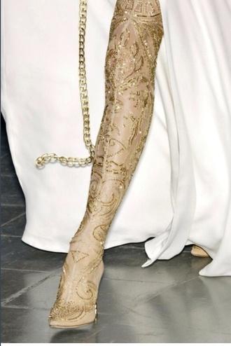 shoes gold alexander mcqueen thigh highs