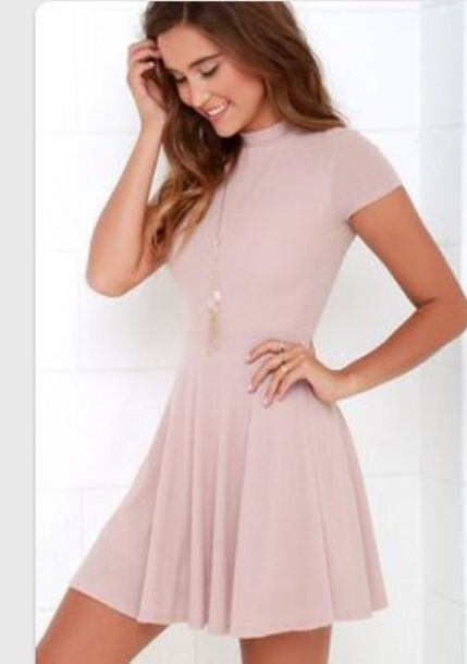 Dress: peachy, short, short sleeved, small title neck, pink dress ...
