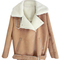 Romwe | romwe zippered lapel long sleeves khaki coat, the latest street fashion