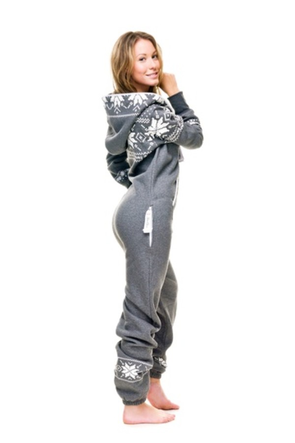 sweater sleepwear clothes pants onesie hooded onesie pajamas pajamas onesie comfy jumpsuit grey sweatpants grey white white sweater warm winter outfits cute grey hoodie with white  snow flakes