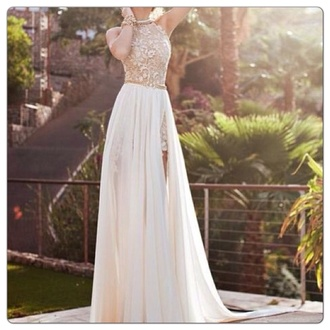 high neck dress lace prom white gold belt prom dress lace dress lace chiffon long dress long prom dress gorgeous long white prom formal formal dress sheer cream off-white wedding wedding dress white dress high low dress two piece dress set