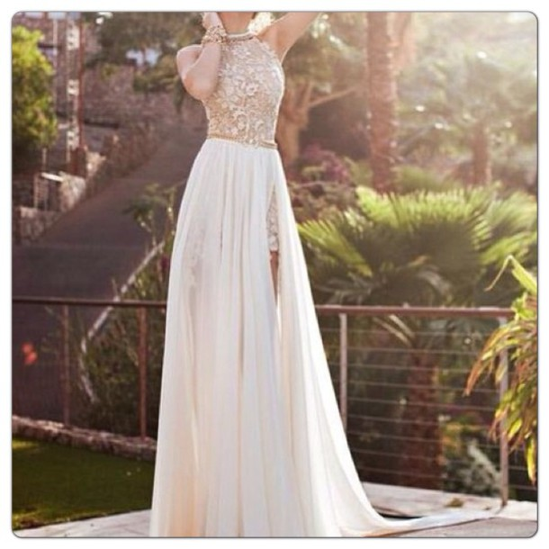 713ff0cbed high neck dress lace prom white gold belt prom dress lace dress lace  chiffon long dress