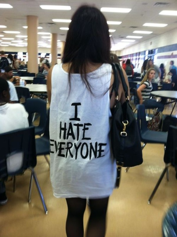 shirt i hate everyone muscle tee tumblr tank top dress clothes tank dress white tank dress t-shirt white black white tank top black abd white low cut graphic tank top t-shirt hate everything sexy white tank top phrase qoute life cute amazing white shirt urban blouse black amd white hate style cool shirts t-shirt thsirt everyone clanck