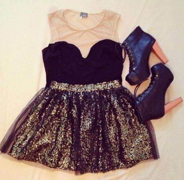 dress short dress black dress gold shoes