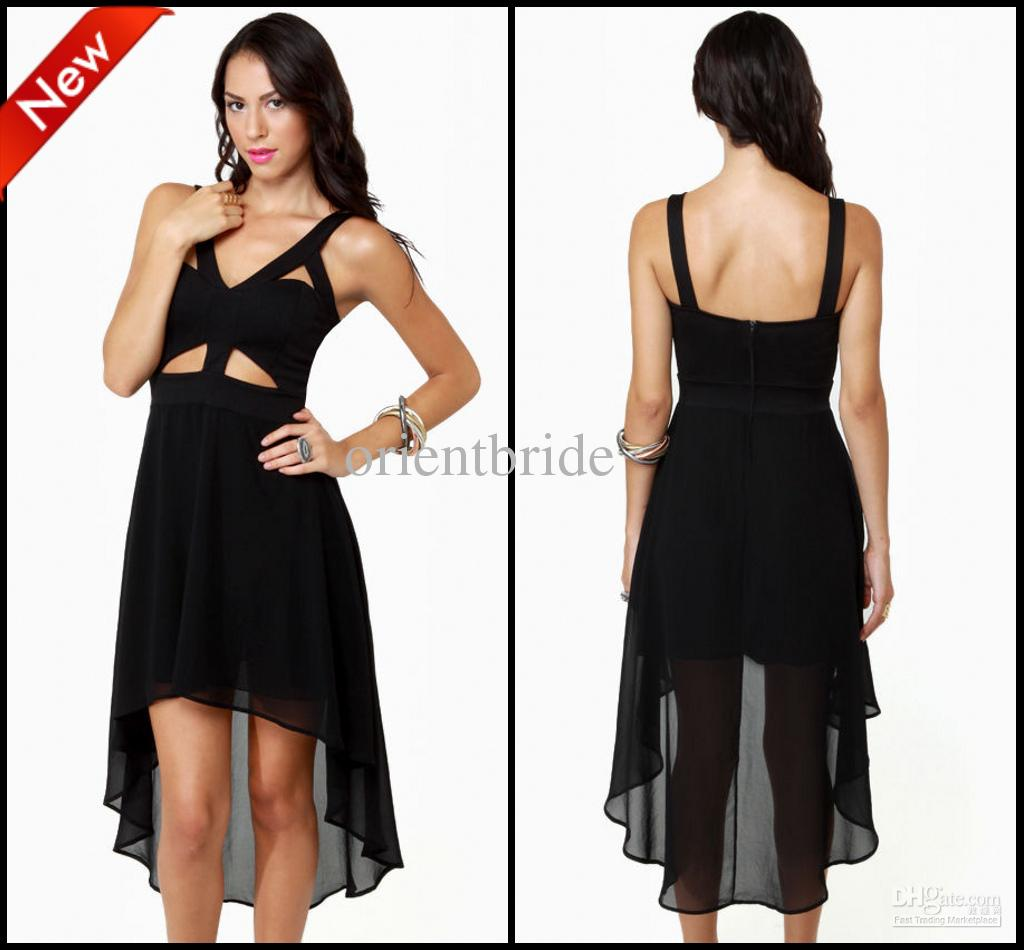 Wholesale Custom Made Sexy Black Cut Out High-Low Chiffon Party Dresses Club dress Cocktail Beach Holiday Gown, Free shipping, $86.36/Piece | DHgate Mobile
