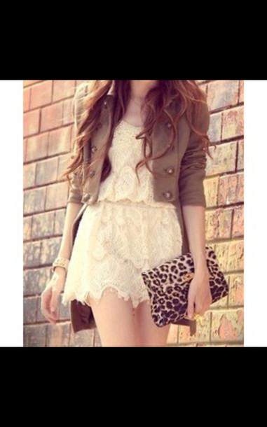 jacket romper dress short dress cream dress white dress lace dress bag