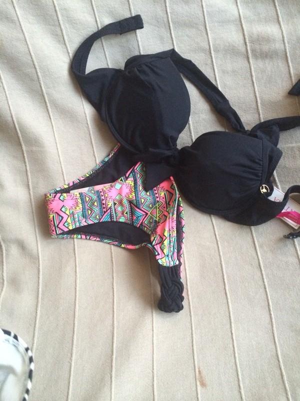 swimwear hot bikini black neon pink