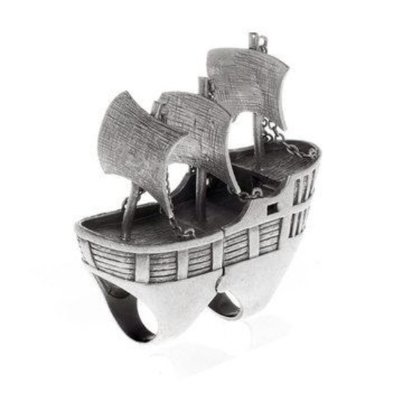 pirate jewels silver boat ship ring