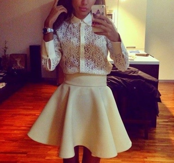 skirt yellow white blouse shirt white lace shirt skater skirt beige skirt lace costume