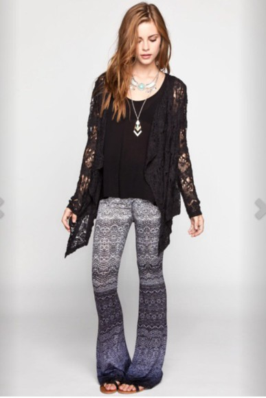 ombre gypsy flare patterned pants stretchy