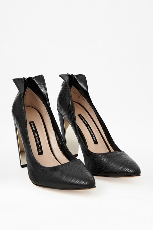 Myka Zipped Leather Court Heels - Shoes - French Connection Usa