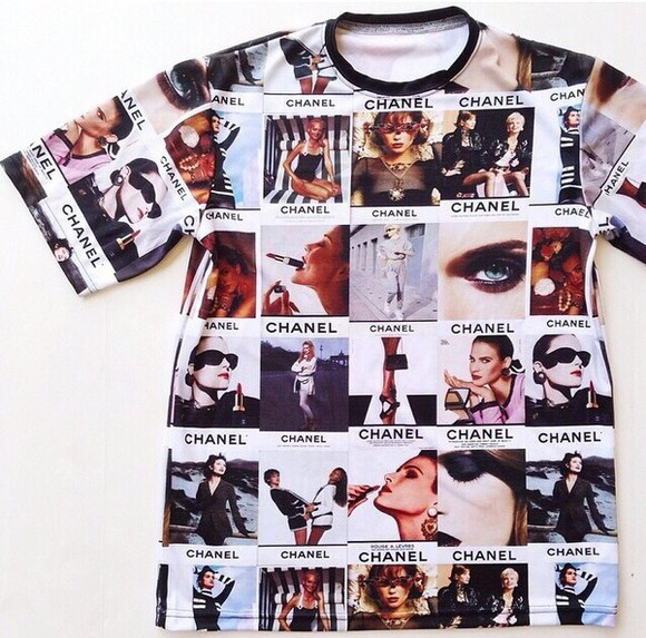 t-shirt chanel t-shirt shirt chanel collage urban street urban fashion