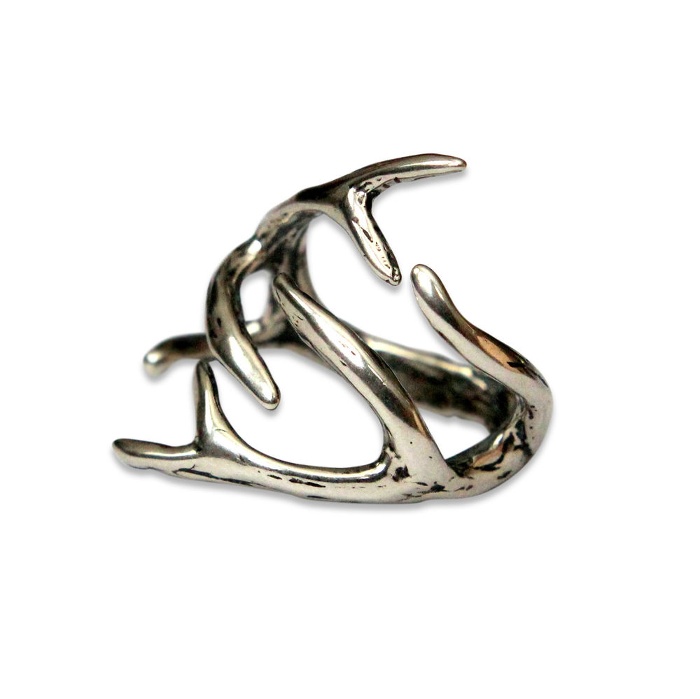 Silver Deer Antler Ring now in Solid White Bronze Sterling Overlay Moose 075