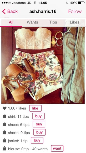 blouse floral shorts bralet summer bustier crop