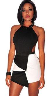 dress,mini dress,asymmetrical dress,club dress,black and white,black,sexy dress,sexy,bodycon,bodycon dress,sleeveless dress,clubbong outfit,moraki,halter neck