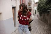 to bruck ave,blogger,t-shirt,jacket,jeans,shoes,girl gang,red t shirt,winter outfits