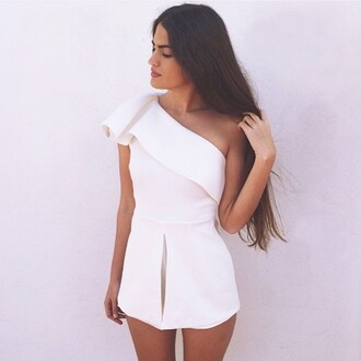 romper white romper off the shoulder one shoulder white one shoulder playsuit white one shoulder romper ruffle playsuit ruffle ruffle romper