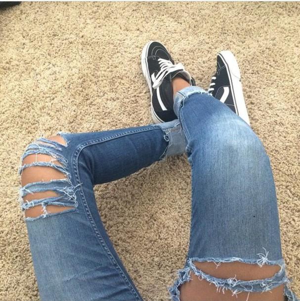 Jeans denim pants ripped jeans blue skinny pants vans black white kylie jenner white ...