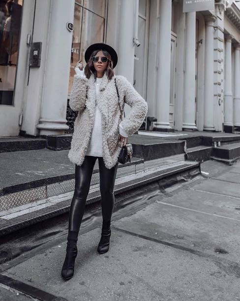 pants leggings skinny pants black leggings sock boots sweater teddy bear coat shoulder bag hat sunglasses