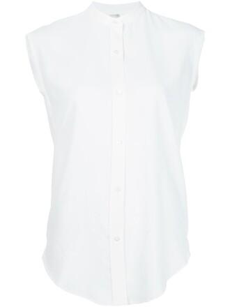 blouse back open open back white top