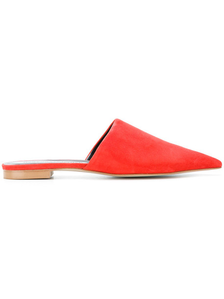 women classic mules leather suede red shoes