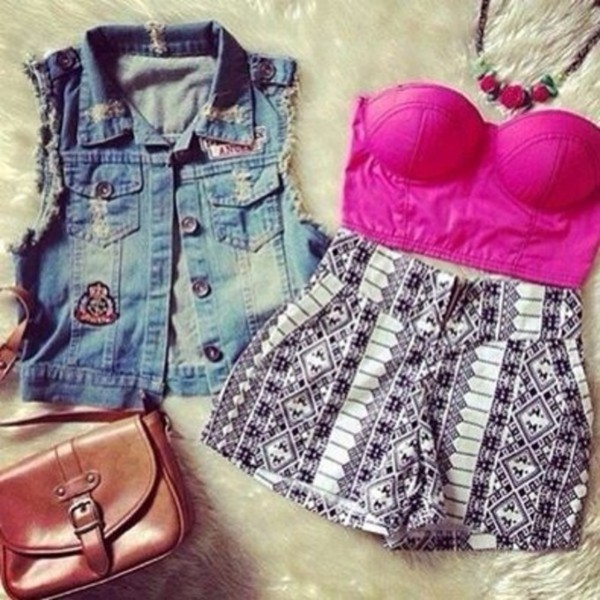 top pink crop tops shorts bralette jacket vest denim shorts black pretty bag necklace flowers cute outfit