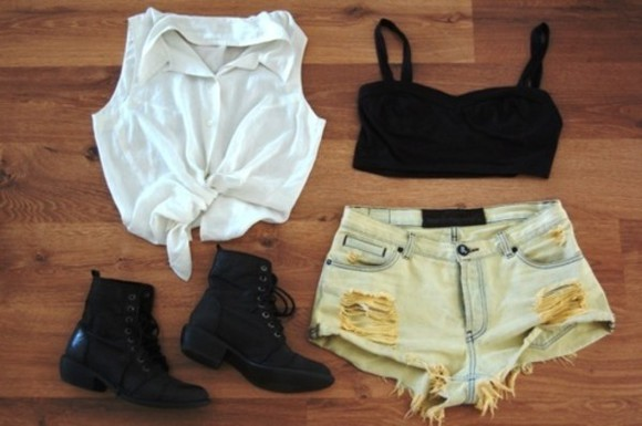 sleeveless blouse combat boots black crop top stressed denim shorts shoes