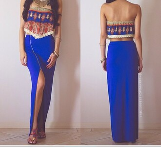 top sleeveless top girly fashion style tribal cardigan tumblr outfit cute top blue skirt zip crop tops pretty preppy skirt blouse shirt