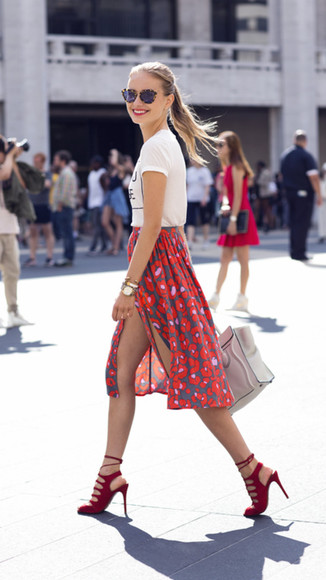 skirt slit skirt red high heels floral high waist red midi skirt shoes shorts