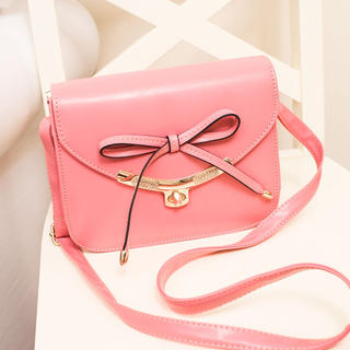 YESSTYLE: Skyblue- Metal-Trim Bow-Accent Cross Bag (Dark Pink - One Size) - Free International Shipping on orders over $150