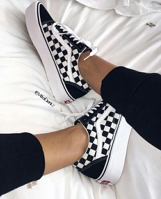 shoes checkerboard vans platform vans old skool vans vans