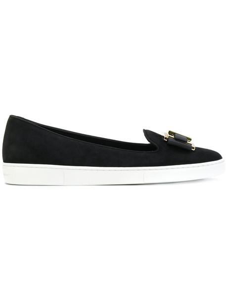 Salvatore Ferragamo women loafers leather suede black shoes