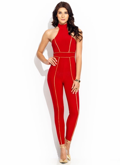 Pipe-Down-Halter-Jumpsuit RED BLACK - GoJane.com