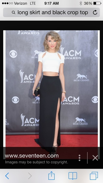 taylor swift slit skirt white crop tops