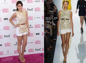 dress,michael kors,spirit awards 2013,gold,nina dobrev,celebrity