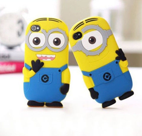 Cartoon silicon material despicable me yellow minion cover for iphone case for 5 5s 5c free shippin