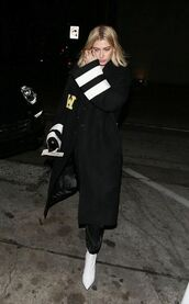 coat,ankle boots,oversized,hailey baldwin,model off-duty,shoes