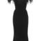 Ostrich feather off the shoulder velvet dress   moda operandi