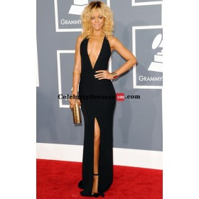Rihanna black halter plunging open back prom gown celebrity dress replicas grammys 2012