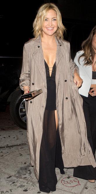 slit dress duster coat kate hudson plunge v neck black dress gown prom dress coat