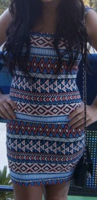 dress aztexprint boobtube