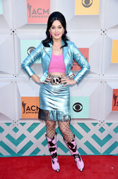 jacket,skirt,boots,metallic,katy perry,red carpet
