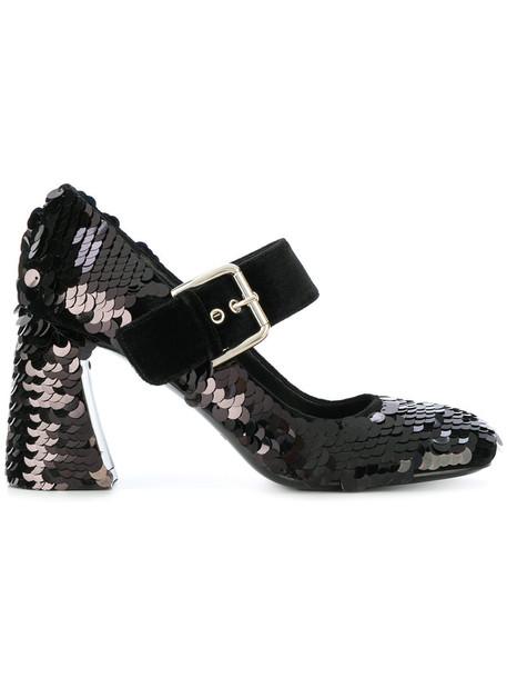 Premiata women pumps leather cotton black shoes