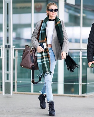 scarf tartan scarf sunglasses blazer grey blazer bag shoes gigi hadid celebrity style jeans denim blue jeans crop tops white top