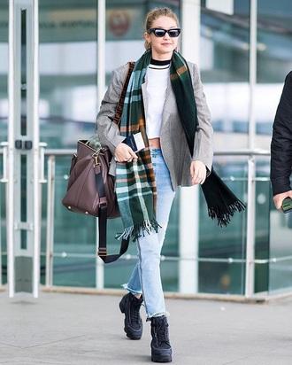 scarf tartan scarf sunglasses blazer grey blazer bag shoes gigi hadid celebrity style jeans denim blue jeans crop tops white top