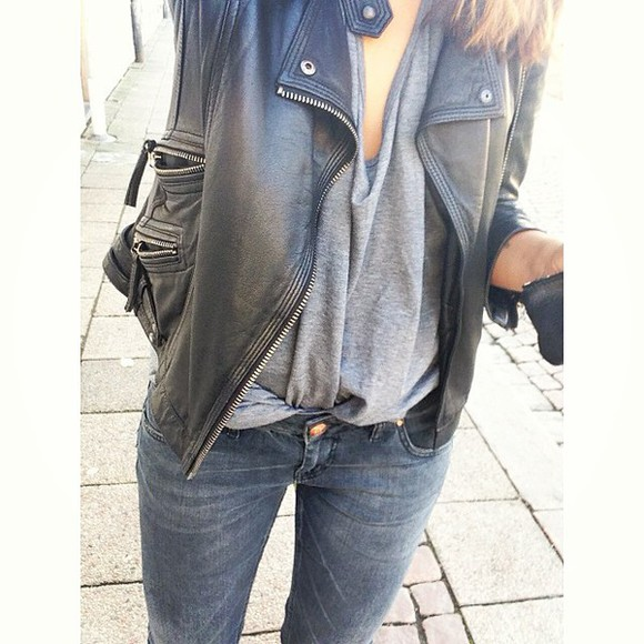 jacket jeans grey shirt stylish leather jacket