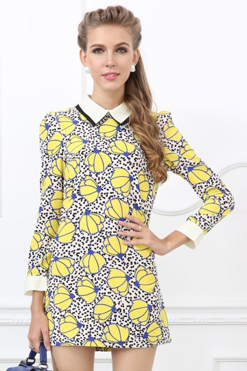 Chic Flower Print Dress with Turned-down Collar [FXBI00335]- US$ 25.99 - PersunMall.com