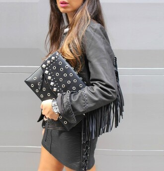 style by nelli blogger lace up skirt mini skirt black leather skirt leather skirt studded bag leather black leather jacket leather jacket fringed jacket studs rock all black everything leather pouch
