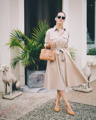 dress tumblr midi dress button up pumps mid heel pumps bag nude bag sunglasses black sunglasses nude dress shoes
