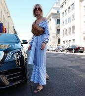 dress,maxi dres,maxi dress,long dress,blue dress,sunglasses,bag,hoes,shoes